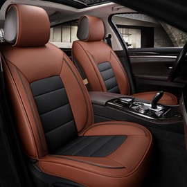 Wear-Resistant Scratch-Resistant Classic Business Style Smooth Leather Material Universal Fit Car Seat Covers Suitable For Most Cars Of 5 Seats