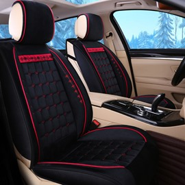 Geometric Patterns Simple Style Soft Plain Suede Seat Cover for Winter