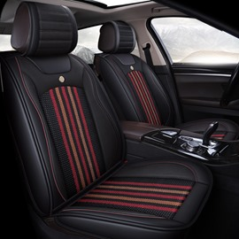 Stripe Pattern PU mixed Flax Material Universal Car Seat Cover