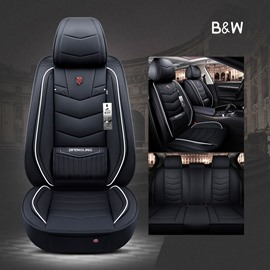 Simple Style Plain Pattern Waterproof PVC Leather Material Universal Car Seat Cover Front and Rear Split Bench Seat Protectors Universal Fit Interior Accessories for Auto Truck Van SUV