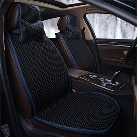 Modern Style Color Block Ice Silk Material Universal Car Seat Cover