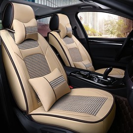 Luxury Business Style Plain Ice Silk Universal Car Seat Cover