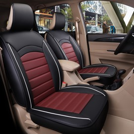 Modern Style Color Block Ice Silk Universal One Front Car Seat Cover Faux Leatherette Automotive Vehicle Cushion Cover for Cars SUV Pick-up Truck Universal Fit Auto Interior Accessories