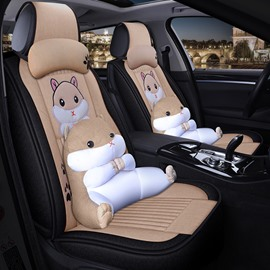 Creative Style Cartoon Universal Car Seat Cover With Cute Three-dimensional Hamster Lumbar Pillow