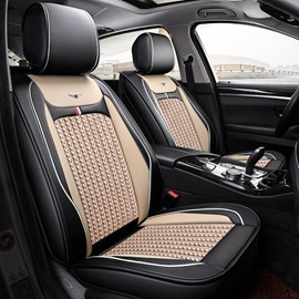 Business Style Breathable Ice Silk Constant Temperature Comfortable Color Block Universal Fit Seat Covers