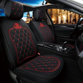 Princess Style Crown Pattern Linen Material High-End, Elegant And Luxurious Universal Fit Seat Covers