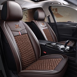 Sports Syle Color Block Ice Silk And Leather Wear-Resistant, Dirt-Resistant, Easy To Clean Universal Fit Seat Covers