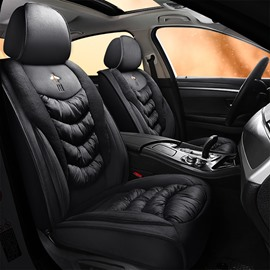 Country Style Rabbit Velvet Material Fitting Design Skin Affinity Texture Airbag Compatible 5 Seats Universal Fit Winter Warm Seat Covers Suitable For 95% Cars On The Market