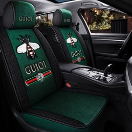 5 Seats Cashmere Material Bee Pattern Unfading Having No Peculiar Smell Winter Warm Universal Fit Seat Covers