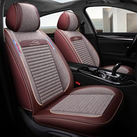 Front Row 360° Full Coverage Healthy And Eco-Friendly Breathable Linen Material Airbag Compatible 5 Seats Universal Fit Seat Cover