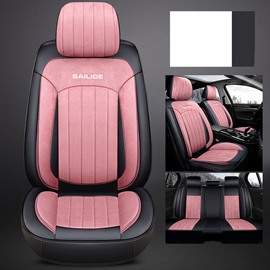 Full Coverage SHORT FLOSS Airbag Compatible Pink Purple Gray Black Beige Coffee 5 Seats Winter Warm Universal Fit Seat Cover