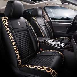5-Seater Full Coverage Leopard Grain Design Durable Leather Material Breathable Noble And Elegant Universal Fit Seat Cover