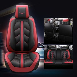 Sport Style 5-Seater Anti-Wrinkle Antiskid Health And Environmental Protection Soft Comfortable Durable Man-Made Leather Universal Fit Seat Cover Suitable For Most 5-Seater Sedan Car/Jeep