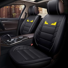Cartoon Style Wear-Resistant Breather PVC Leather 5 Seats Durable Universal Fit Seat Covers
