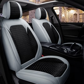 Car Seat Covers Wear-resistant Leather & Breathable Ice Silk Material Comfortable Breathable And Sweat-free 5-seater Full Coverage Durable Scratch Resistant Easy To Clean Universal Fit Seat Covers