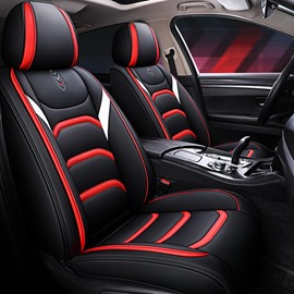 5-Seater Car Seat Covers Full Coverage Soft Wear-Resistant Durable Skin-Friendly Man-Made PU Leather Airbag Compatible Fastness Universal Fit Seat Covers ( Ford Mustang and Chevrolet Camaro are Not Suitable)