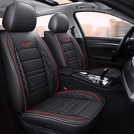 Sport Style 5 Seats Car Seat Covers Full Coverage With Waterproof Leather Wear Resistant Dirty Resistant Universal Fit Seat Covers