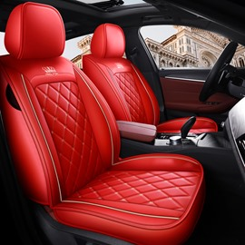 Durable Leather 5 Seats Trendy Diamond Lattice Pattern Security No Odor Stain Resistant Wear Resistant Full Coverage Four Seasons Universal Seat Covers