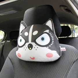 Creative Husky Head Pattern 1 Piece Car Neckrest Pillow