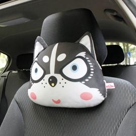 Creative Husky Head Pattern 1 Piece Car Neckrest Pillow