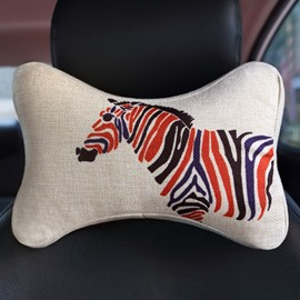 Concise Multiple Colored Zebra Patterned Car Neckrest Pillow