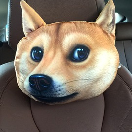 Humorous Personalized Defiant Dog Face Car Seat Pillows