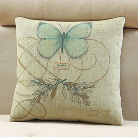 Comfortable Quillow Butterfly Patterned Linen Blanket Car Pillow