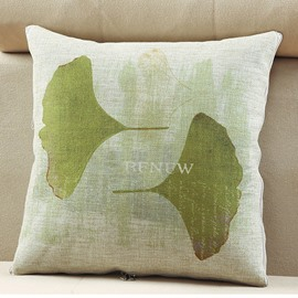 Convertable Quillow Ginkgo Leaf Patterned Linen Blanket Car Pillow