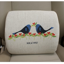 Concise And Creative Linen Material Floral Birds Lumbar Support Car Pillow