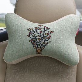 Concise And Styling Linen Material Branch Buckhorn Car Neckrest Pillow