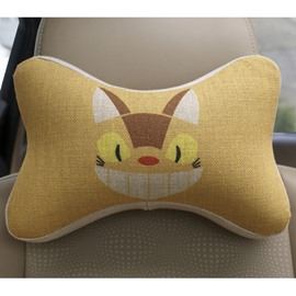 Concise And Creative Linen Material Giggling Kitten Car Neckrest Pillow