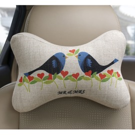 Concise And Creative Linen Material Floral Birds Car Neckrest Pillow