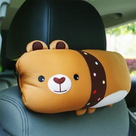 Cute Bear Cartoon Style And Comfortable Synthetic Fiber Material Car Pillow