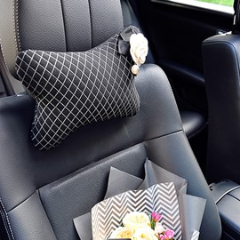 Super Cool Design With White Beautiful Camellias Flower Single Car Headrest Pillow