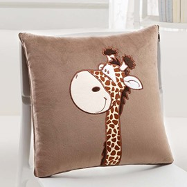 Lovely Cartoon Giraffe Pattern Design Three Kinds Of Use Multi-Functional Car Pillow