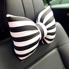 Beautiful Black And White Stripes Bow Design 1pc Car Headrest&1pc Lumbar Pillow
