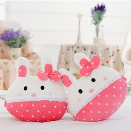 Attractive 1-Pair Lovely Pink Rabbit With Bow Design Soft Velvet Creative Car Headrest Pillow