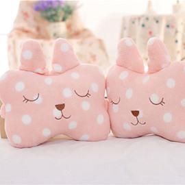Popular 1-Pair Lovely Shy Pink Rabbit Design Soft Velvet Creative Car Headrest Pillow