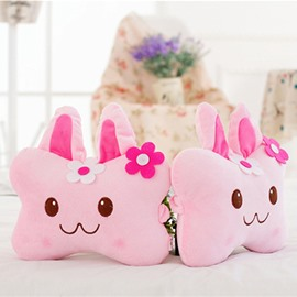 Fashion 1-Pair Lovely MOMO Rabbit Design Soft Velvet Creative Car Headrest Pillow