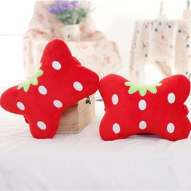 Charming 1-Pair Lovely Red Strawberry Design Soft Velvet Creative Car Headrest Pillow