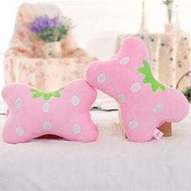 Popular 1-Pair Lovely Pink Strawberry Design Soft Velvet Creative Car Headrest Pillow