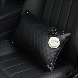 Endearing Practical Camellia ornament High-grade Leather Car Waistrest Pillow