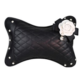 Endearing Practical Camellia ornament High-grade Leather Car Neckrest Pillow