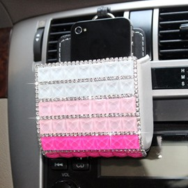 Rhinestone Inlayed Bag Style Air Outlet Installation Car Phone Holder
