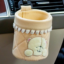 Cute Yellow Bear Patterned Cotton Car Phone Holder