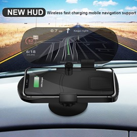 HUD Wireless Charger Projector Car GPS Phone Holder