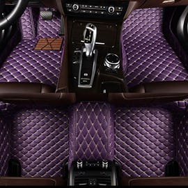 Charming Purple Design All Surround Style Custom-Made Leather Car Floor Mats