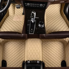 Beige Custom -Made All Surround Style PU Leather Material Durable Car Floor Mats