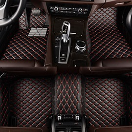 Classic Black And Red Grid Design Custom Fit Car Floor Mats