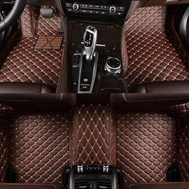 Classic Custom-Made Grid Line Design Fashion Coffee Colored Car Floor Mats